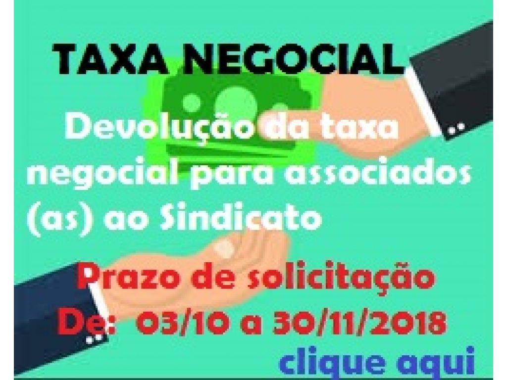 """Já está disponível no site do Sindicato formulário para devolução da Taxa Negocial para """"associados"""""""