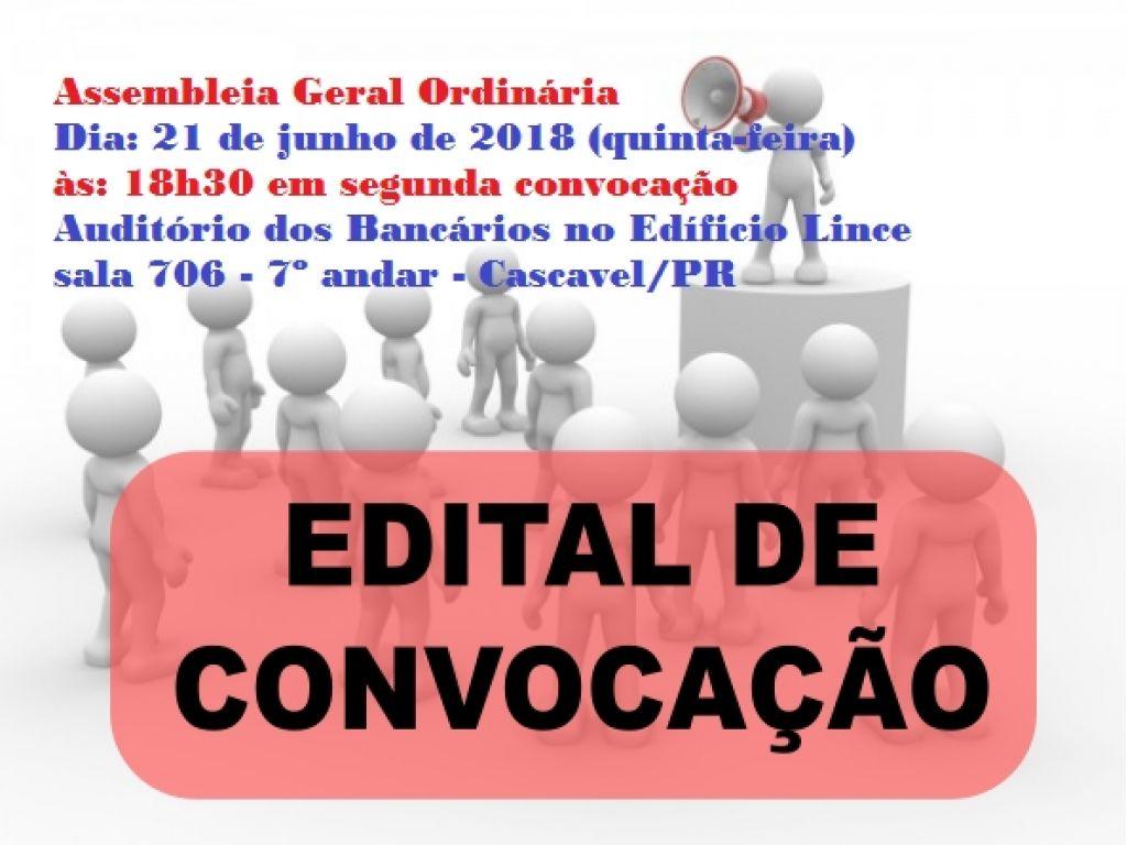 Assembleia Geral Ordinária - Dia: 21/06 (quinta-feira) às 18h30 - Participem